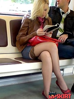 Nylon pantyhose shown off in street upskirt